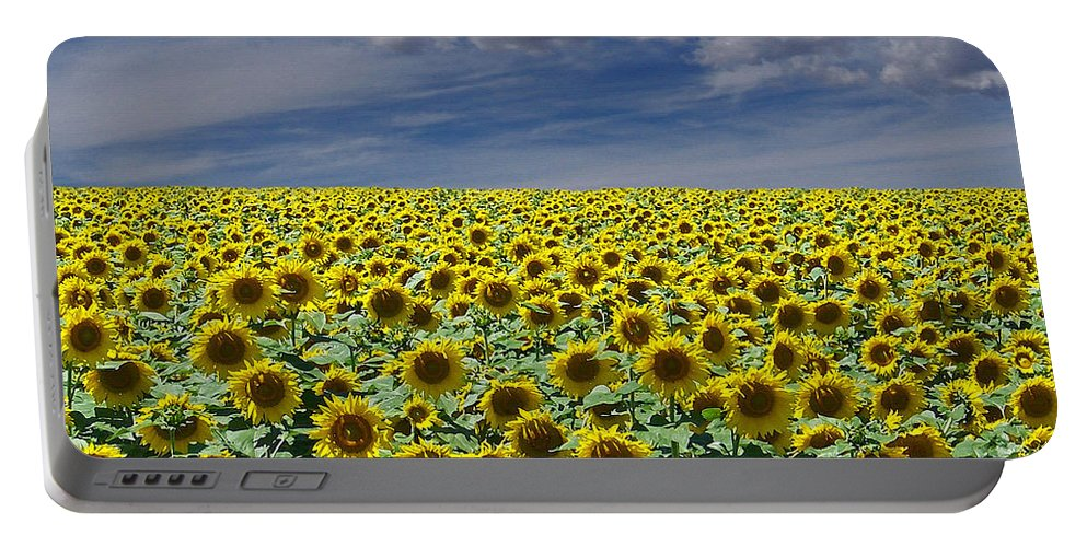 Botanicals Portable Battery Charger featuring the digital art Sunflowers Forever by Ernie Echols