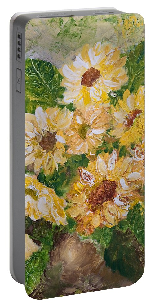 Sunflowers Portable Battery Charger featuring the painting Sunflowers Forever by Jo Smoley