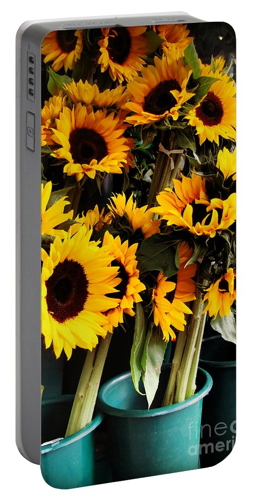 Flowers Portable Battery Charger featuring the photograph Sunflowers In Blue Bowls by Miriam Danar