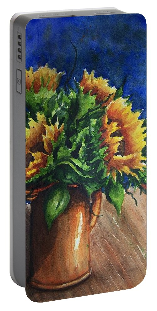 Sunflowers Portable Battery Charger featuring the painting Sunflowers In Copper by Conni Reinecke