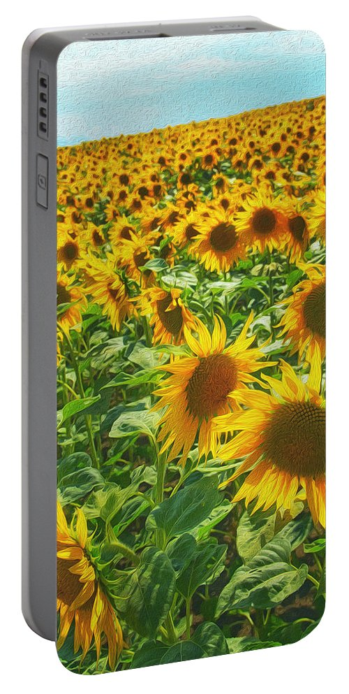 Agriculture Portable Battery Charger featuring the painting Sunflowers by Jaroslav Frank