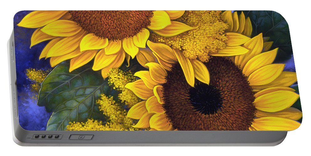 Botanical Portable Battery Charger featuring the painting Sunflowers by Mia Tavonatti