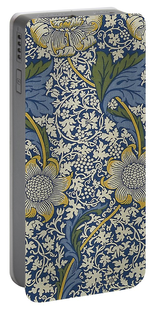 William Portable Battery Charger featuring the digital art Sunflowers On Blue Pattern by William Morris