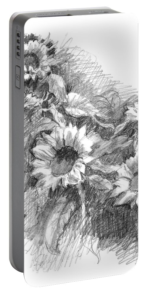 Landscape Portable Battery Charger featuring the drawing Sunflowers by Sarah Parks