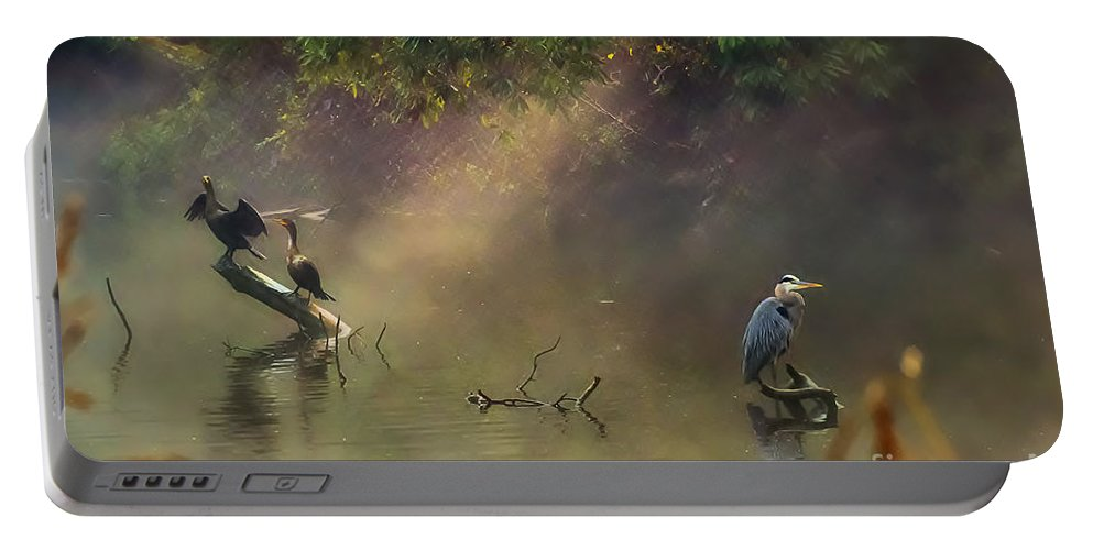 Lake Portable Battery Charger featuring the photograph Sunglow Heron by Scott Hervieux