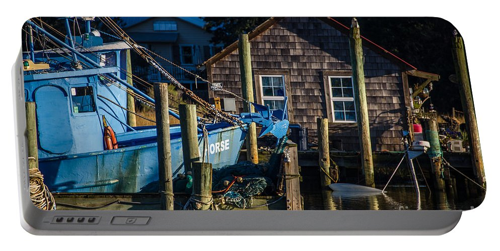 Shem Creek Portable Battery Charger featuring the photograph Shem Creek Life by Dale Powell