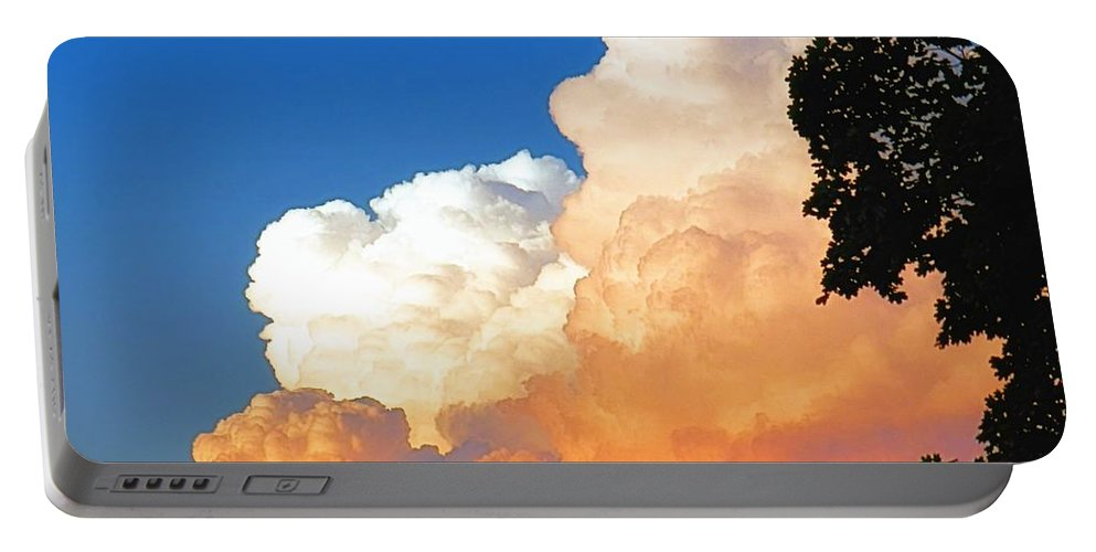 Sunkissed Portable Battery Charger featuring the photograph Sunkissed Storm Cloud by Sharon Woerner