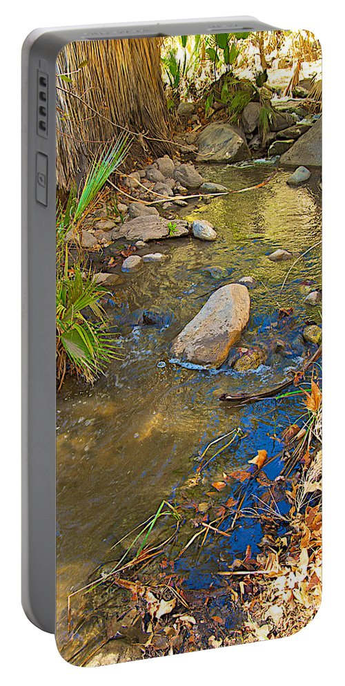 Sunlight On Andreas Creek In Andreas Canyon Trail In Indian Canyons Portable Battery Charger featuring the photograph Sunlight On Andreas Creek In Indian Canyons-ca by Ruth Hager