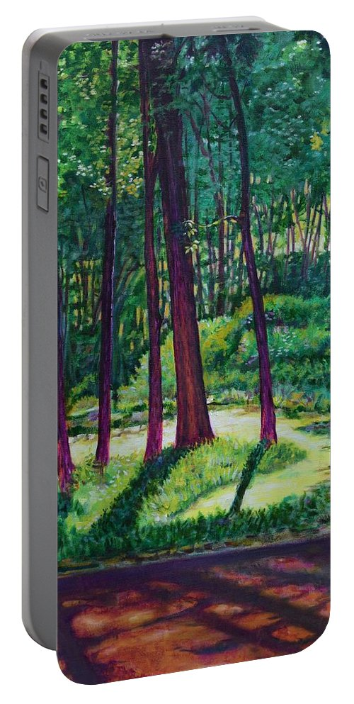 Nature Portable Battery Charger featuring the painting Sunlight Peeping Through. by Usha Shantharam