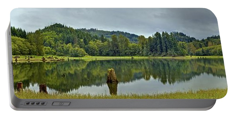Panorama Portable Battery Charger featuring the photograph Sunny Beach Point 1 by SC Heffner