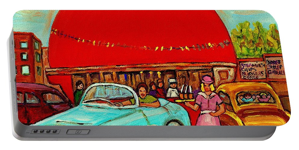Orange Julep With Classic Cars Portable Battery Charger featuring the painting Sunny Day At The Big Orange Julep Montreal Road Side Diner Carole Spandau by Carole Spandau