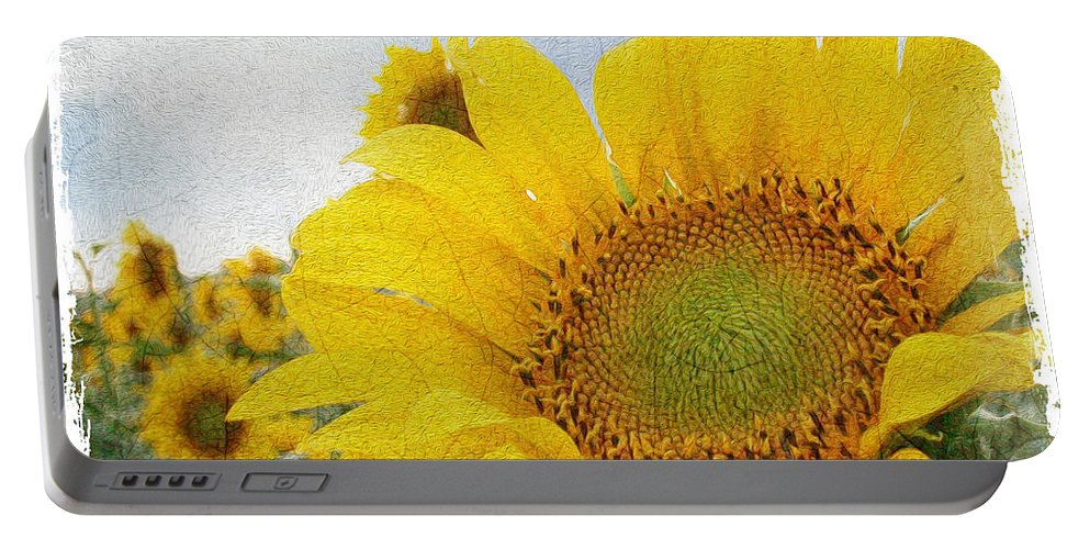 Sunflower Portable Battery Charger featuring the digital art Sunny Morning by Anita Hubbard