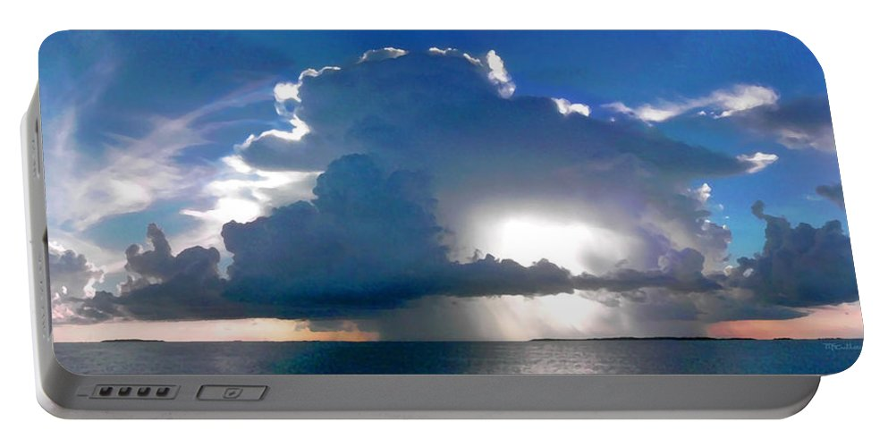 Clouds Portable Battery Charger featuring the photograph Sunny Waterfall Over The Bay Filtered by Duane McCullough