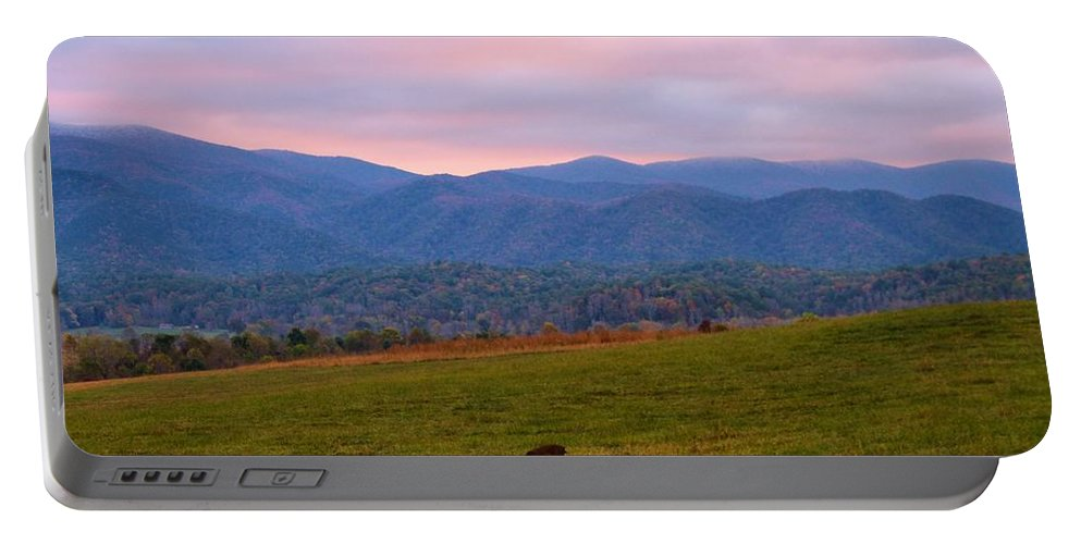 Sunrise And Deer In Cades Cove Portable Battery Charger featuring the photograph Sunrise And Deer In Cades Cove by Dan Sproul
