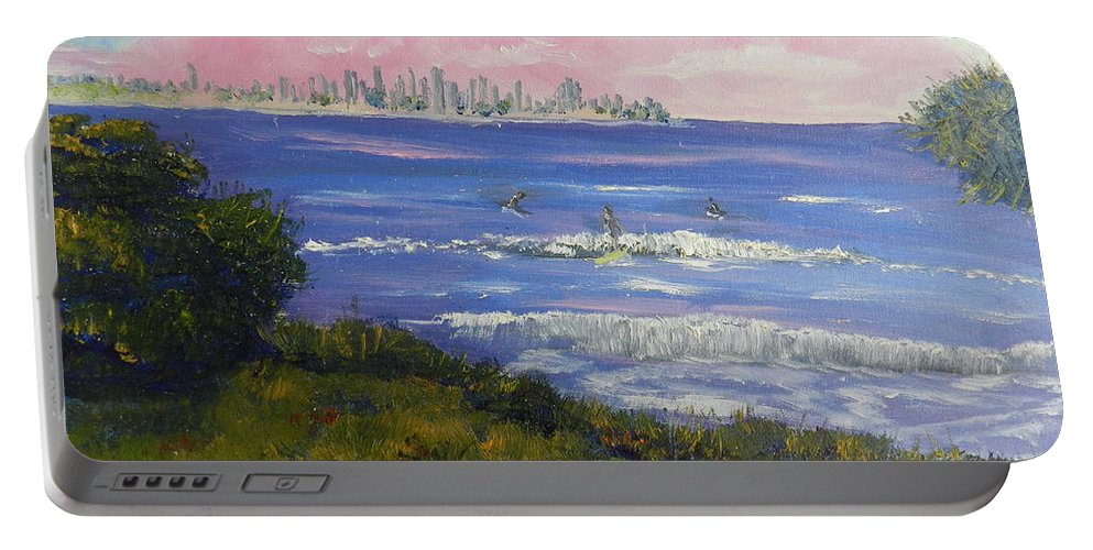 Impressionism Portable Battery Charger featuring the painting Sunrise At Burliegh Heads by Pamela Meredith