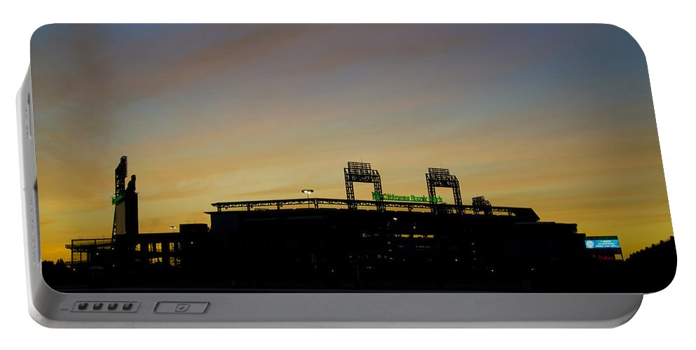 Sunrise Portable Battery Charger featuring the photograph Sunrise At Citizens Bank Park by Bill Cannon