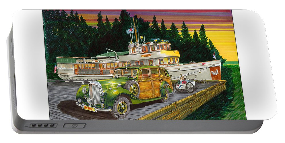Image Of 1934 Bentley Shooting Brake On The Dock At The Seattle Yacht Club Port Madison Out Station Portable Battery Charger featuring the painting Port Madison Sunrise by Jack Pumphrey