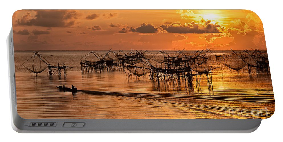 Fishing Portable Battery Charger featuring the photograph Sunrise At The Fishing Village by Kim Pin Tan