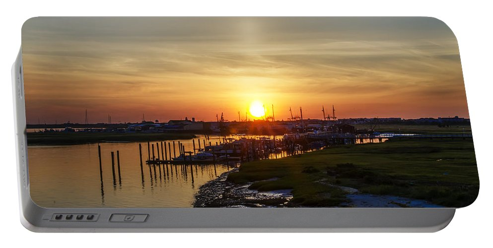 Sunrise Portable Battery Charger featuring the photograph Sunrise At Two Mile Inlet - Wildwood Crest by Bill Cannon