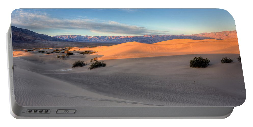 Mesquite Flats Duunes Portable Battery Charger featuring the photograph Sunrise Dunes by Peter Tellone