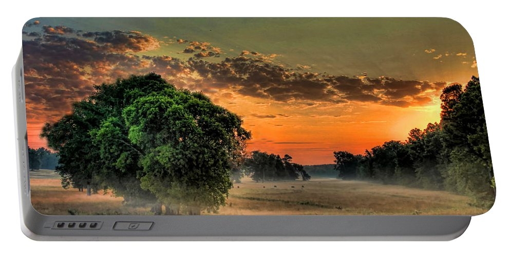 Sunrise Portable Battery Charger featuring the photograph Sunrise Fog by Reid Callaway