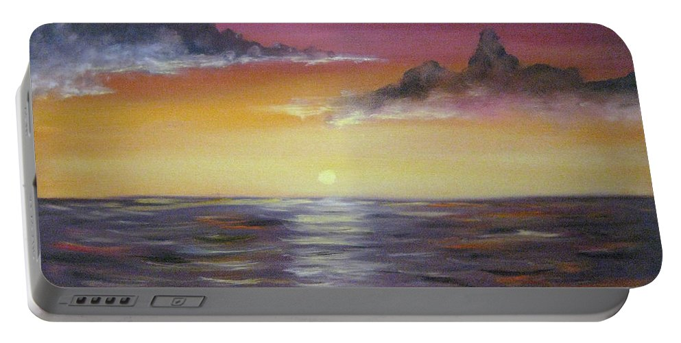 Seascape Portable Battery Charger featuring the painting Sunrise by Nick Robinson