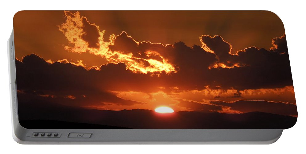 Sunrise Portable Battery Charger featuring the photograph Sunrise On Fire by Donna Jackson