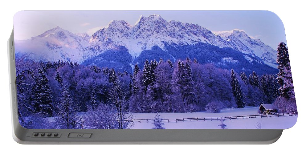 Snow Landscape Portable Battery Charger featuring the painting Sunrise On Snowy Mountain by Misuk Jenkins