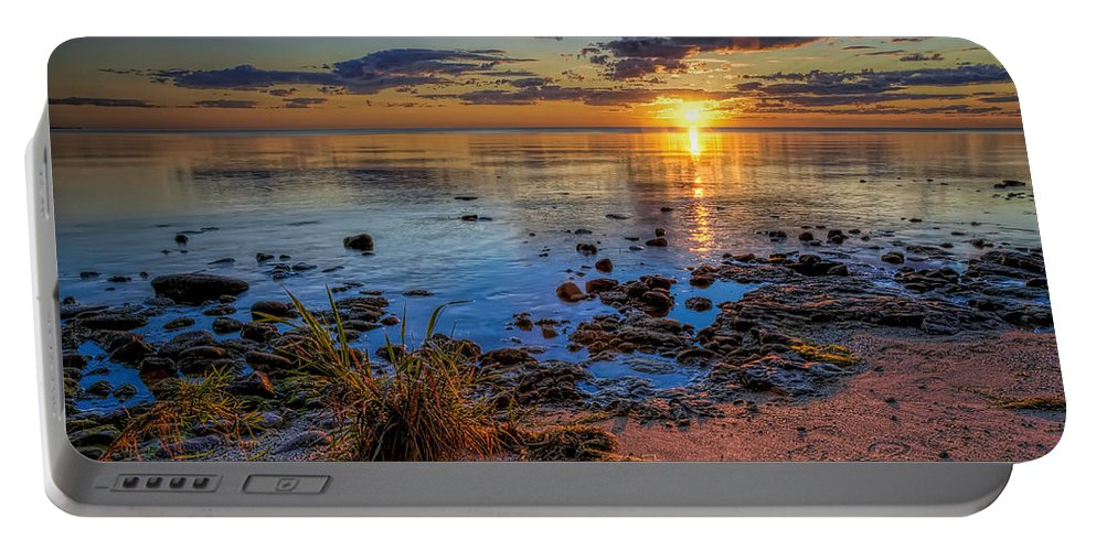Sun Portable Battery Charger featuring the photograph Sunrise over Lake Michigan by Scott Norris