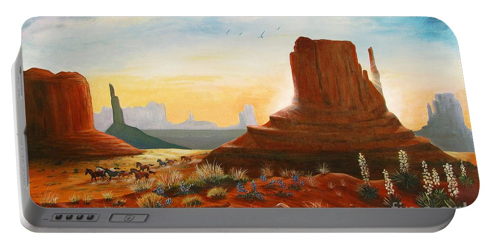 Monument Valley Scene Portable Battery Charger featuring the painting Sunrise Stampede by Marilyn Smith