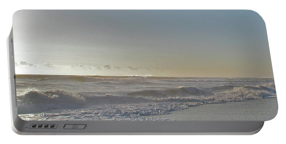 Sunrise Portable Battery Charger featuring the photograph Sunrise Surf - Island Beach State Park Nj by Mother Nature