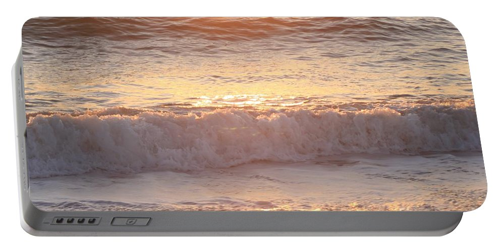 Waves Portable Battery Charger featuring the photograph Sunrise Waves by Nadine Rippelmeyer