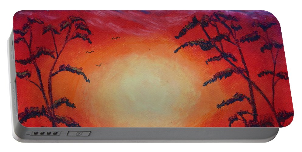 Sunset Portable Battery Charger featuring the painting Sunset 1 by Jeanne Fischer