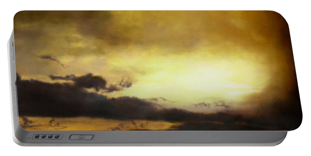 Sunset Portable Battery Charger featuring the painting Pouzol Sunset 92 X 122cm by Thomas Darnell