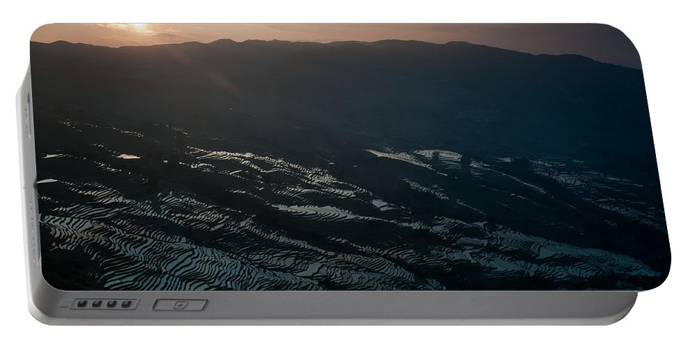 Agriculture Portable Battery Charger featuring the photograph Sunset And Rice Terrace by Kim Pin Tan