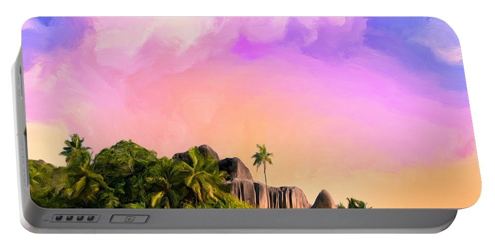 Anse Source Argent Portable Battery Charger featuring the painting Sunset At Anse Source Argent Seychelles by Dominic Piperata