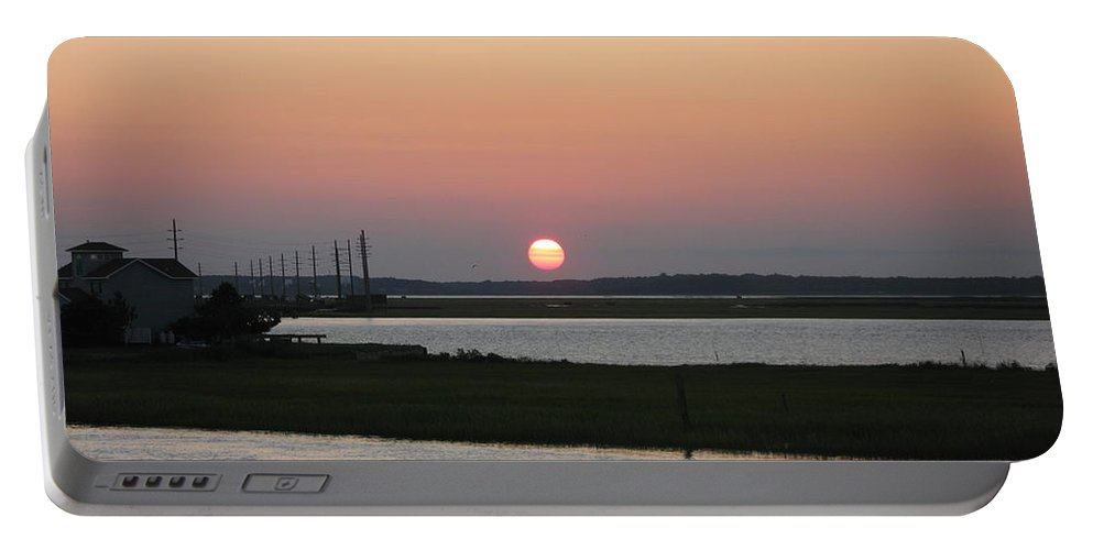 Sunset Portable Battery Charger featuring the photograph Sunset At Chincoteague Channel by Christiane Schulze Art And Photography