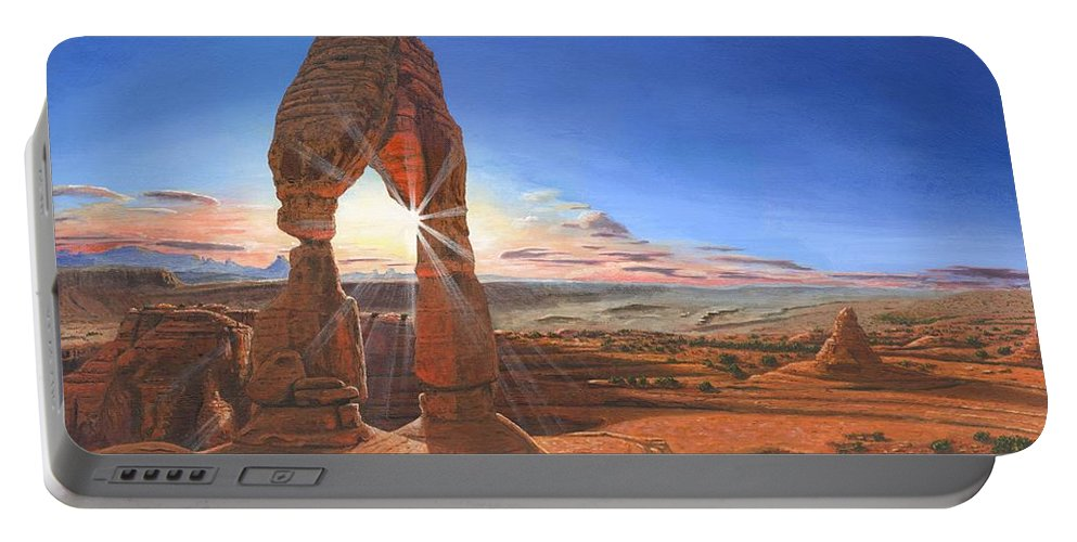 Delicate Arch Portable Battery Charger featuring the painting Sunset At Delicate Arch Utah by Richard Harpum