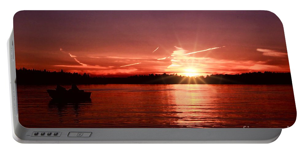 Lake Of The Woods Portable Battery Charger featuring the photograph Sunset At Lake Of The Woods by Tommy Anderson