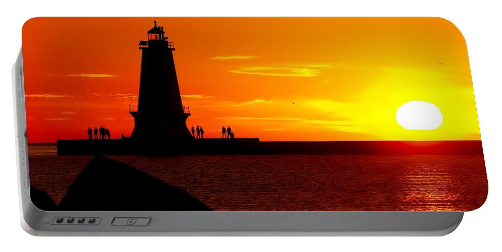 America Portable Battery Charger featuring the photograph Sunset At Ludington by Nick Zelinsky