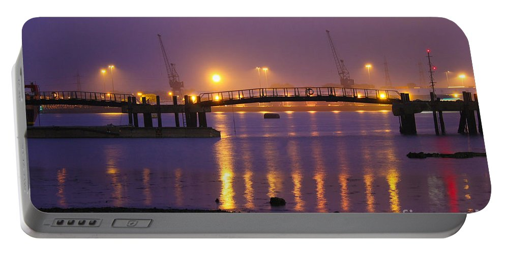 Southampton Docks Portable Battery Charger featuring the photograph Sunset At Southampton Docks by Terri Waters