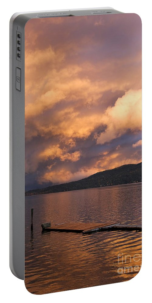 Sunset Portable Battery Charger featuring the photograph Sunset At The Dock by Louise Heusinkveld