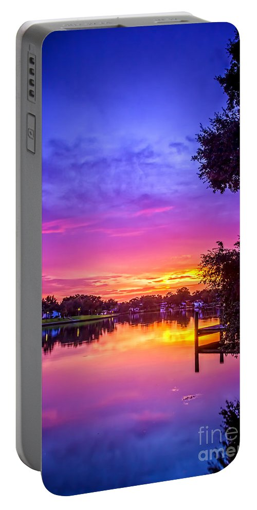Sunset Portable Battery Charger featuring the photograph Sunset At The Pier by Marvin Spates