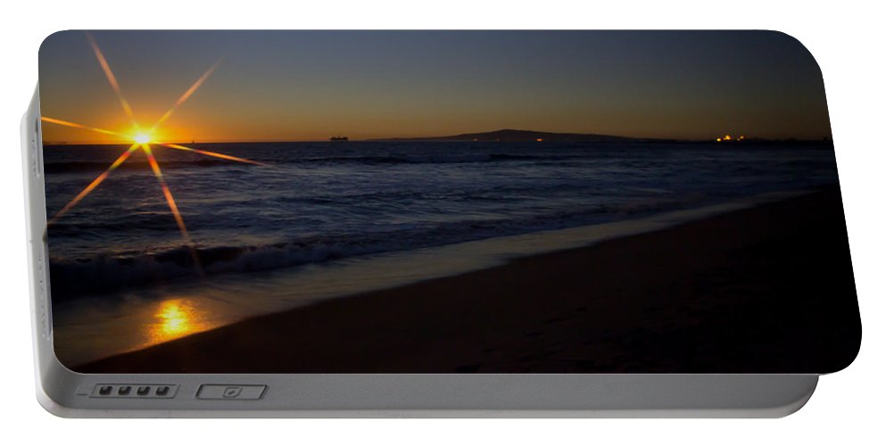 Background Portable Battery Charger featuring the photograph Sunset Beach by Heidi Smith