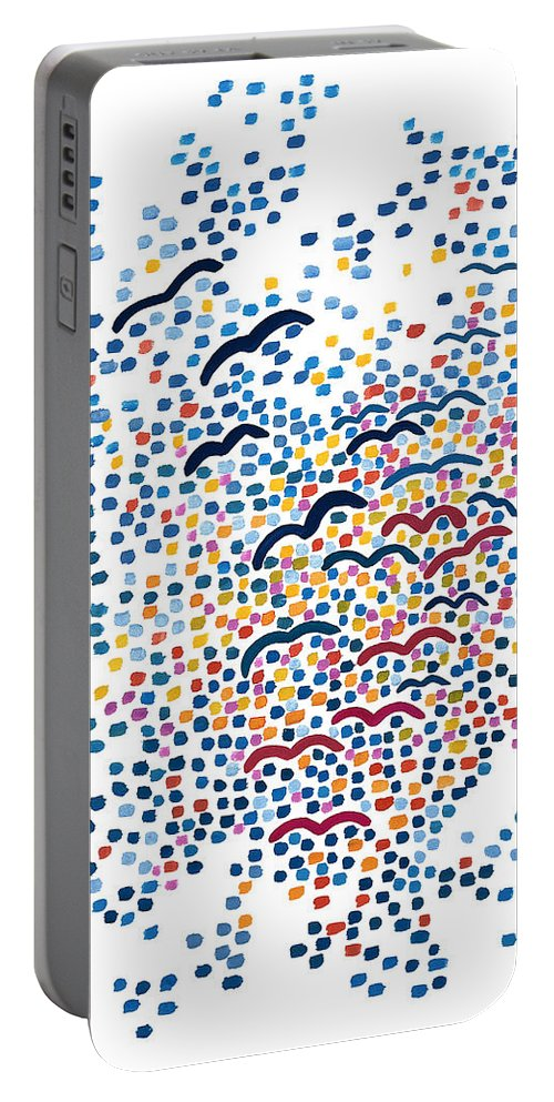 Contemporary Portable Battery Charger featuring the painting Sunset by Bjorn Sjogren