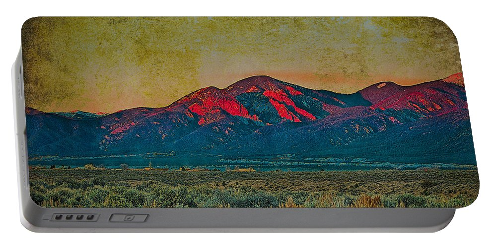 Santa Portable Battery Charger featuring the mixed media Sunset by Charles Muhle