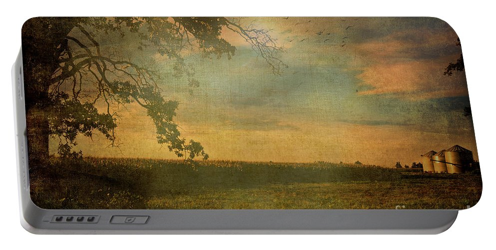 Nature Portable Battery Charger featuring the photograph Sunset Farmland by Debbie Portwood