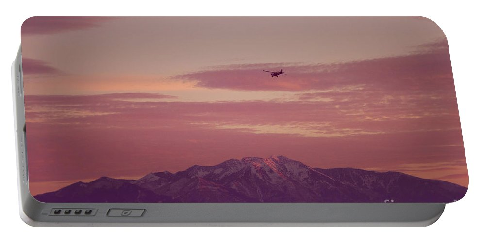 Sunset Portable Battery Charger featuring the photograph Sunset Flight by Bethany Helzer