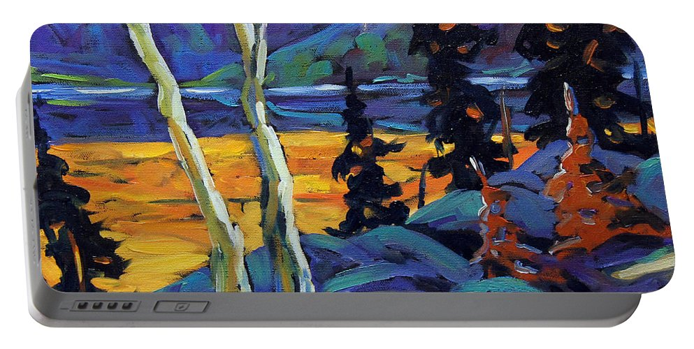 City Portable Battery Charger featuring the painting Sunset Geo Landscape Original Oil Painting By Prankearts by Richard T Pranke