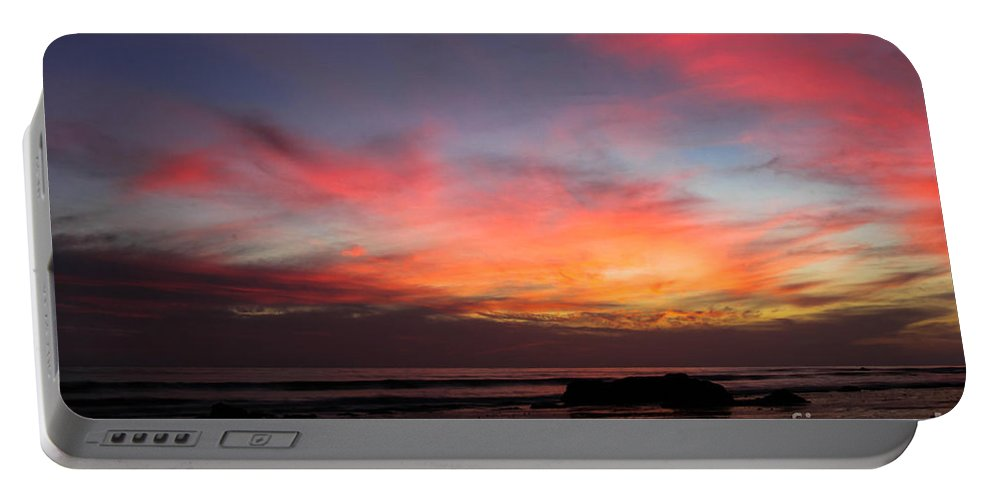 Sunset Portable Battery Charger featuring the photograph Sunset Handry's Beach by Henrik Lehnerer